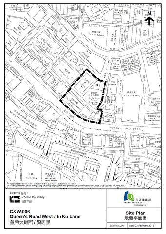 Site plan of Queen's Road West/In Ku Lane Development Scheme in the Central and Western District