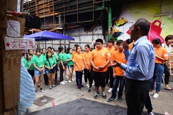 The students pay visits to URA projects to understand the work of urban renewal.