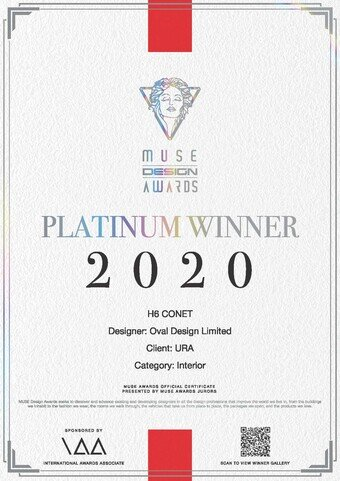 "H6 CONET clinched the highest rank of Platinum in the category of ""Interior Design ‒ Civic / Public"" of the 2020 Muse Design Awards."